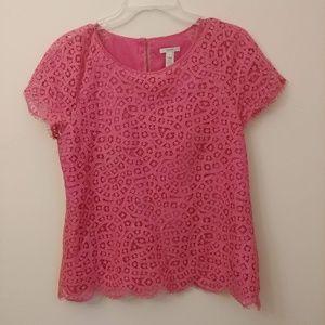 J.Crew Pink Lace Cap Sleeve Top Blouse Lasercut 6